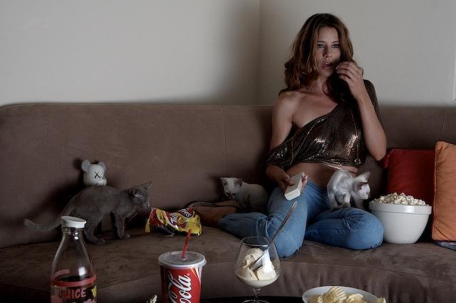 Jocette with Kittens