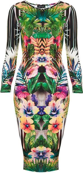 TOPSHOP Botanical Floral Bodycon Dress