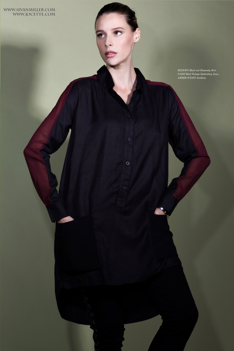 Jocette wears RELIGION Black and Burgundy Shirt PAIGE Black Verdugo Embroidery Jeans AMBER SCEATS Jewellery