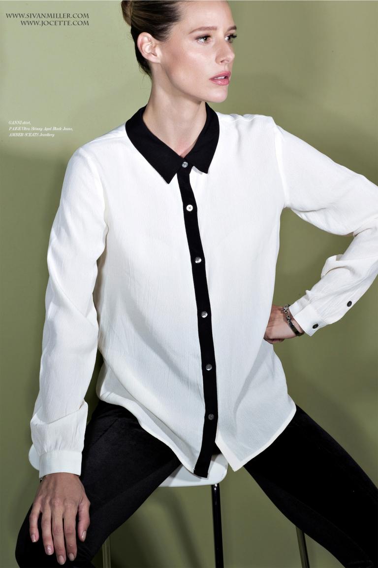 Jocette Wears GANNI Shirt, PAIGE Ultra Skinny Aged Black Jeans, AMBER SCEATS Jewellery