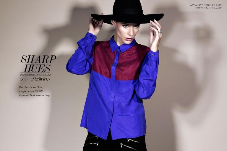 Jocette Wears Zara Hat, GANNI Shirt, PAIGE Edgemont Black Ultra Skinny