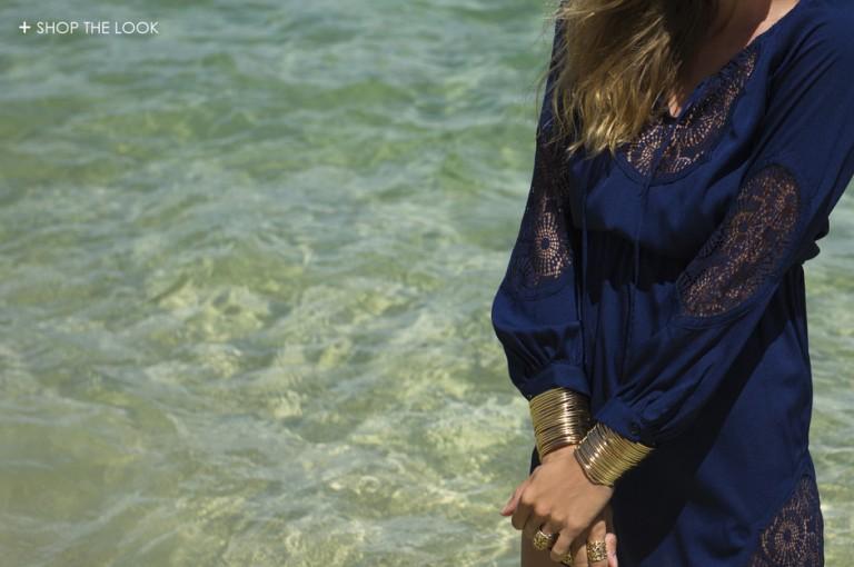 Jocette Coote wears Miss Moncur Navy Deco Dress