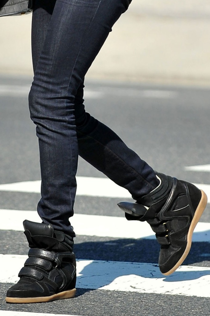 Black wedge sneakers with spikes