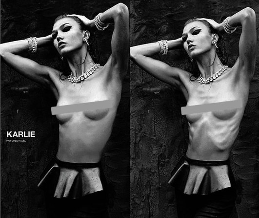 Karlie Kloss photoshopped for Numero magazine